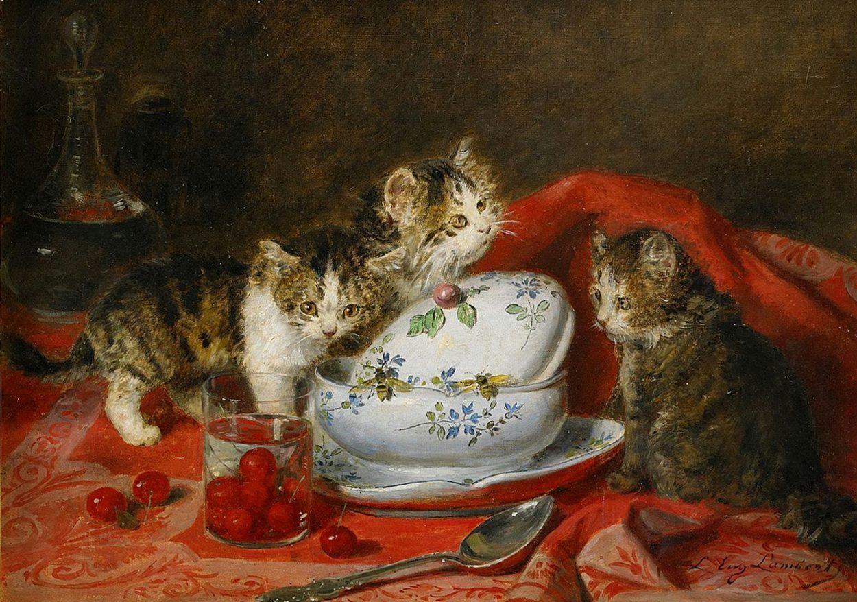 Kittens and Cherries, Louis Eugene Lambert