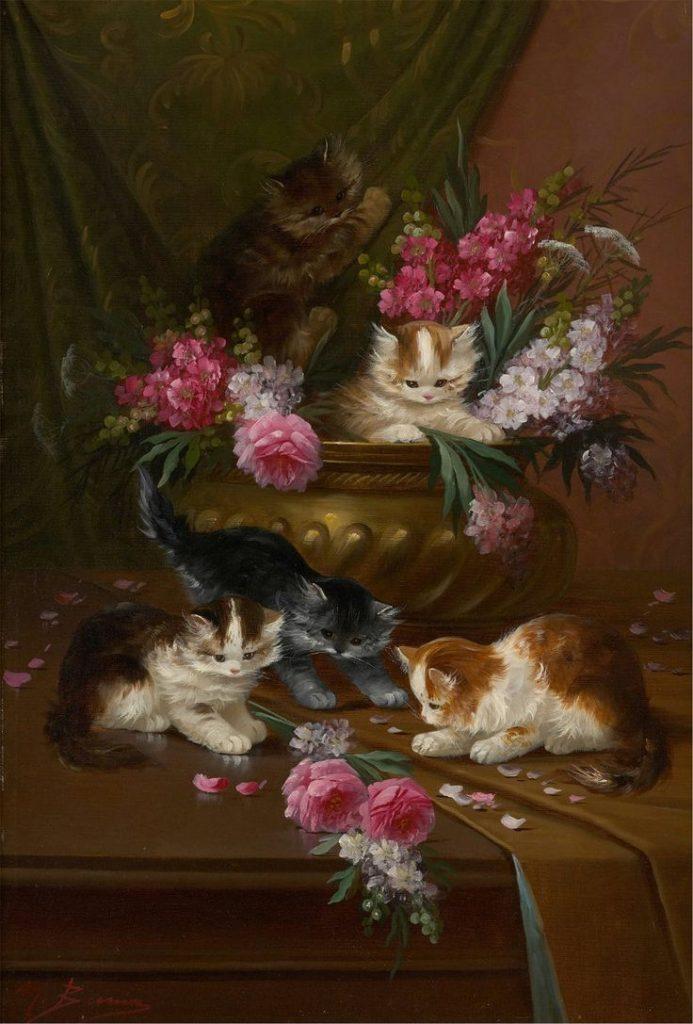 Kittens and Flowers, Louis Eugene Lambert