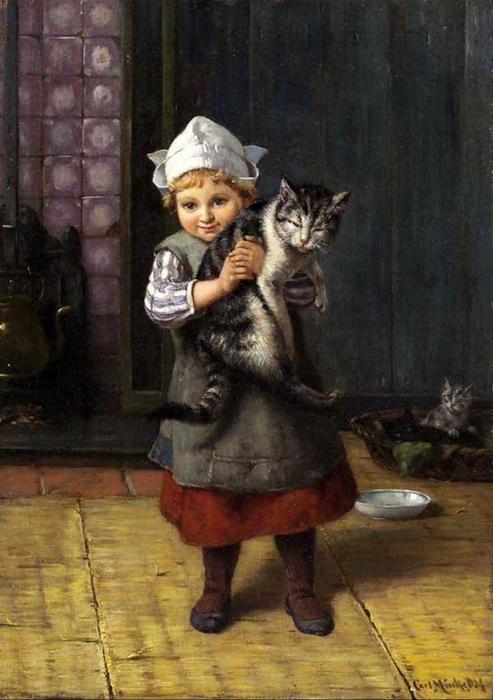 Karl Emil Mucke (1847-1923) Little Girl and Kitten