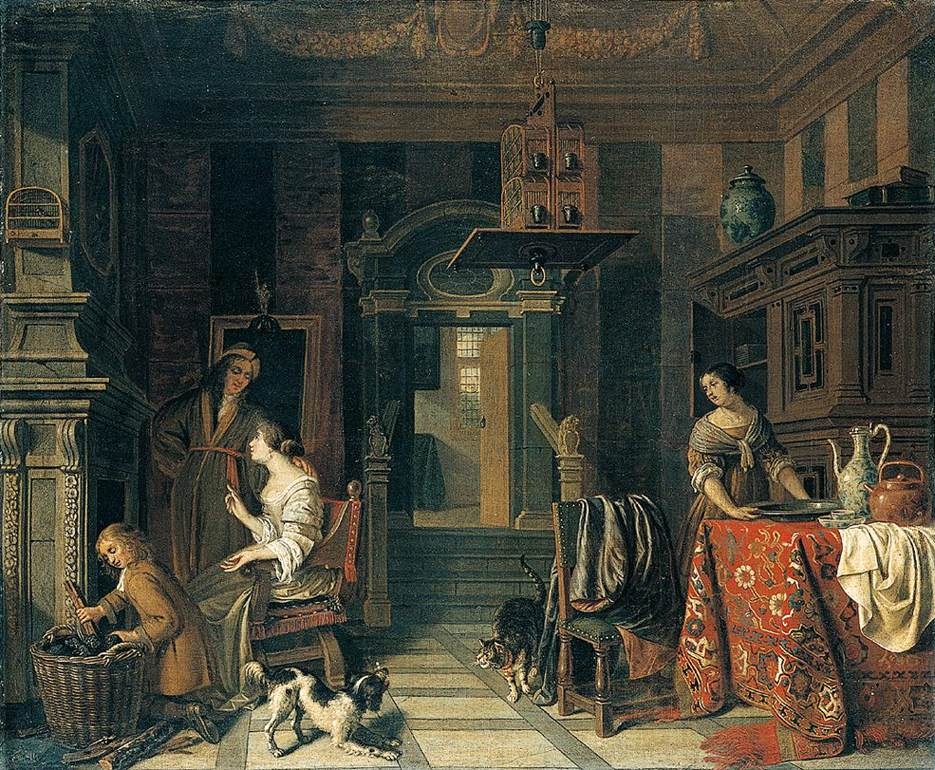 Cornelis de Man - Interior of a Townhouse, cats in art