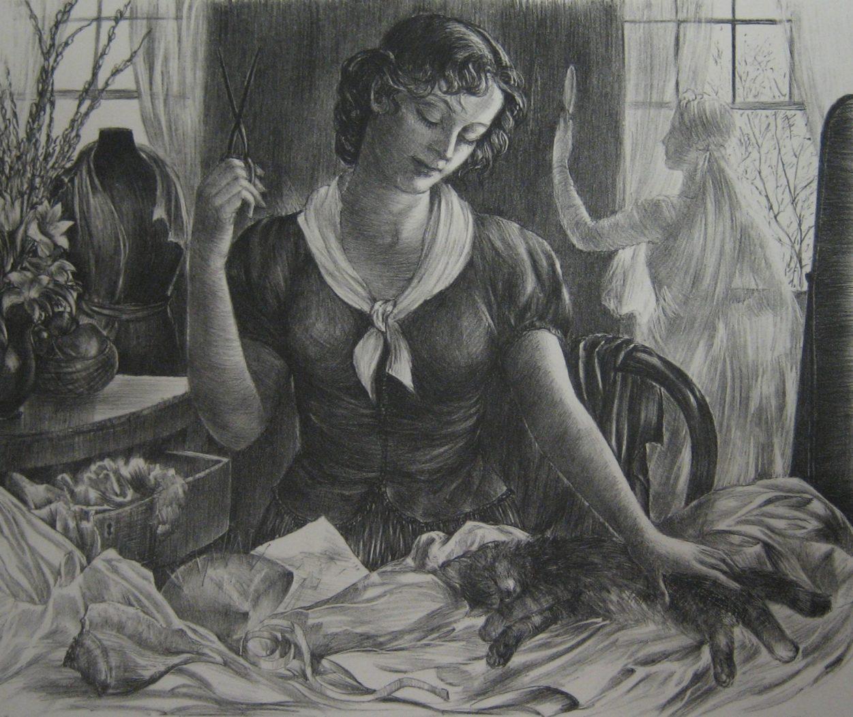 The Dress Shop, Agnes Tait cats in art