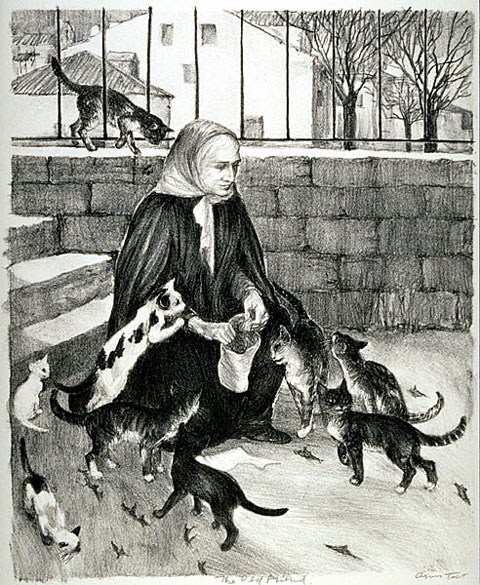 The Old Friend, Agnes Tait, cats in art
