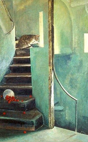 Feridun Oral, Cat on the Stairs