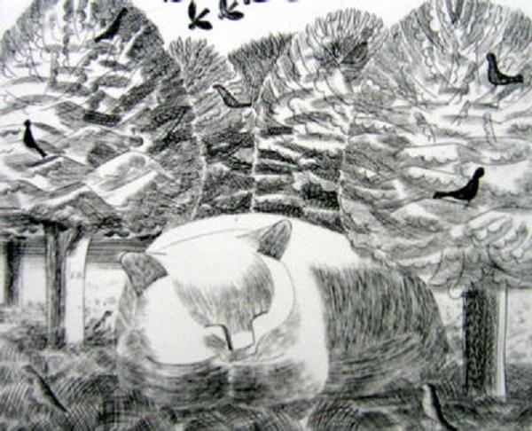 La Reverie, etching, Edward Bawden, cats in art
