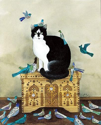 Feridun Oral, Cat on a Chest with Birds