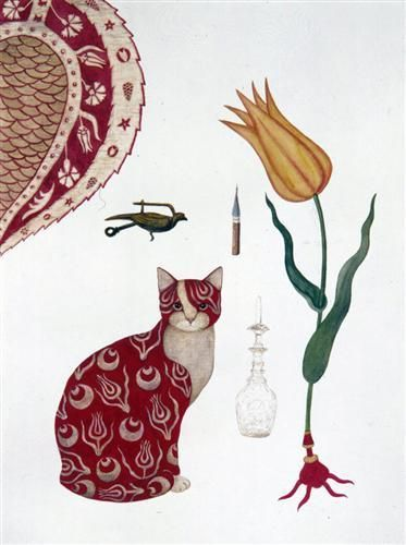 Feridun Oral, Yellow Tulip and Cat