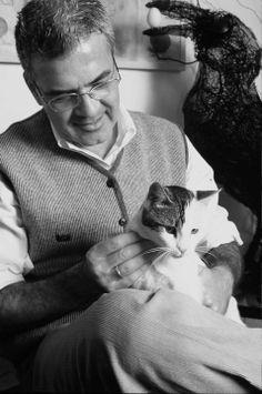 Turkish artist Feridun Oral with Cat