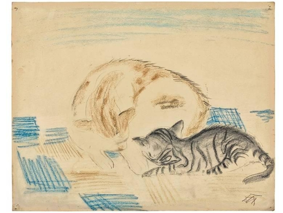 Katze und Katchen, Cat and Kitten, Otto Dix