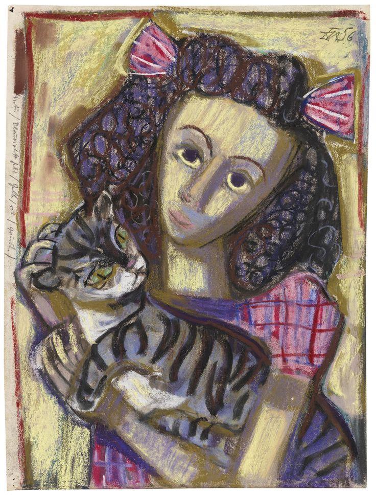 Mädchen mit Katze (1956), Otto Dix, Girl with Cat