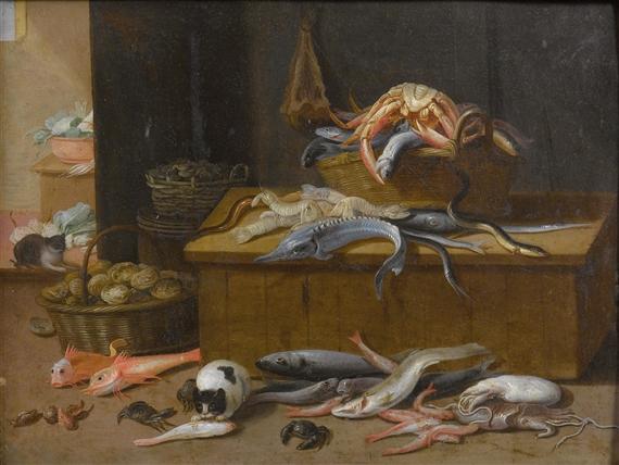 Jan van Kessel, the Elder, Still life with marine creatures and cats