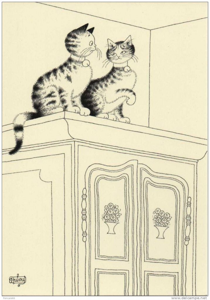 Albert Dubout, Two Cats on a Wardrobe