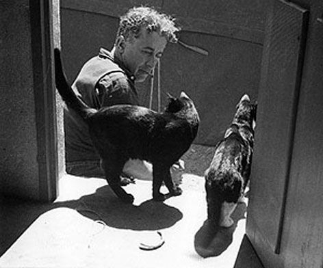 Albert Dubout, 1948 with cat