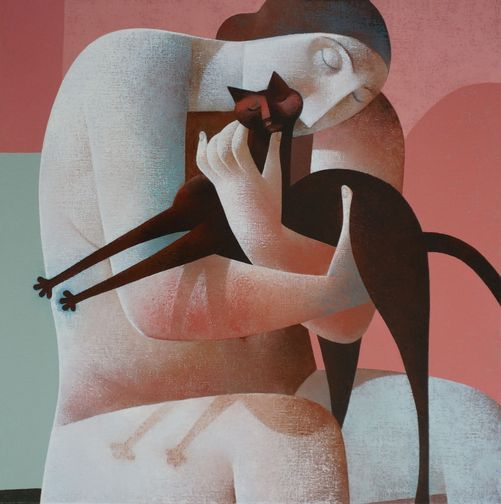 Woman Holding a Cat, Peter Harskamp