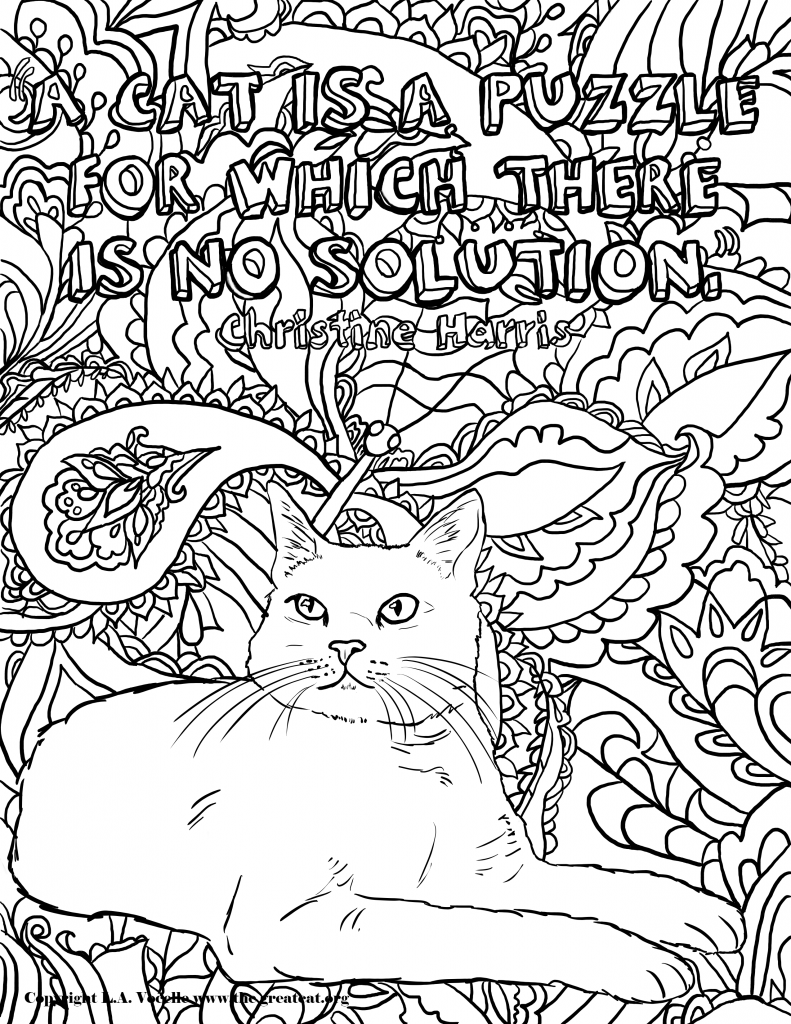 Cat is a Puzzle2_Painting-Copyright L.A. Vocelle, free coloring pages, free cat coloring pages