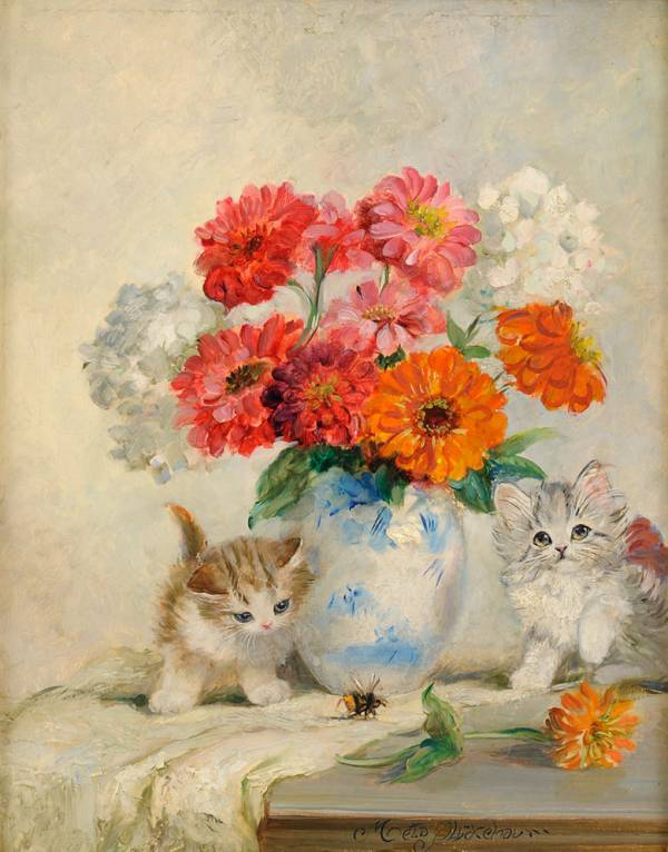 Two Kittens and a Vase of flowers, Meta Pluckebaum