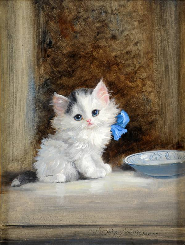 Kitten with Blue Ribbon, Meta Pluckebaum
