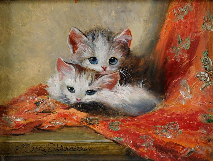 Two Kittens on a Red Drape. Meta Pluckebaum