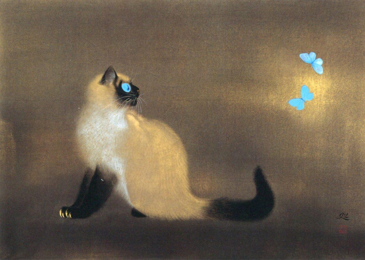 Cat and Blue Butterflies, Matazo Kayama