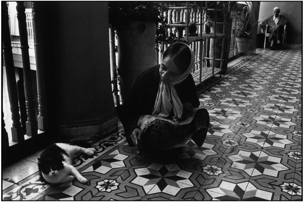 Moroccan Woman and Cat, Marrakech. Fondation juive, dispensaire Martine Franck