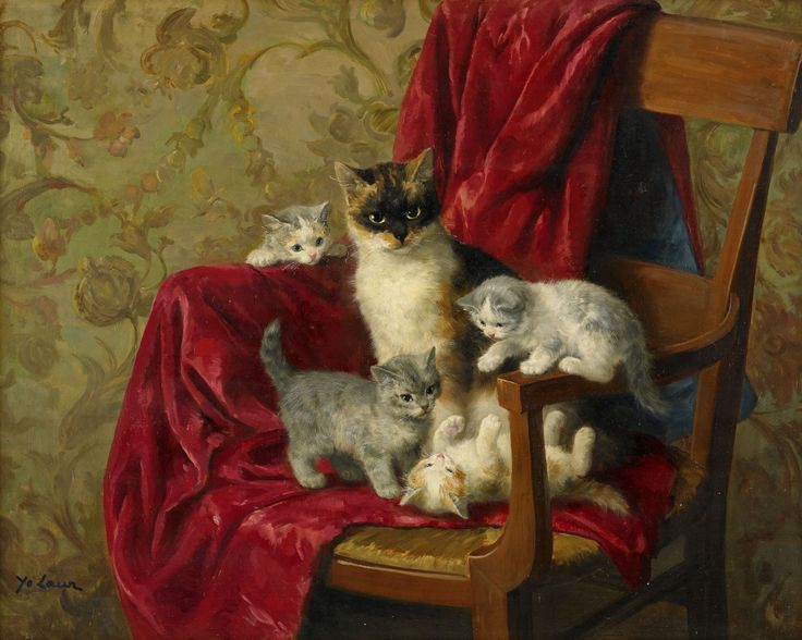 Cat Family in a Chair, Marie Yvonne Laur, Yo Laur