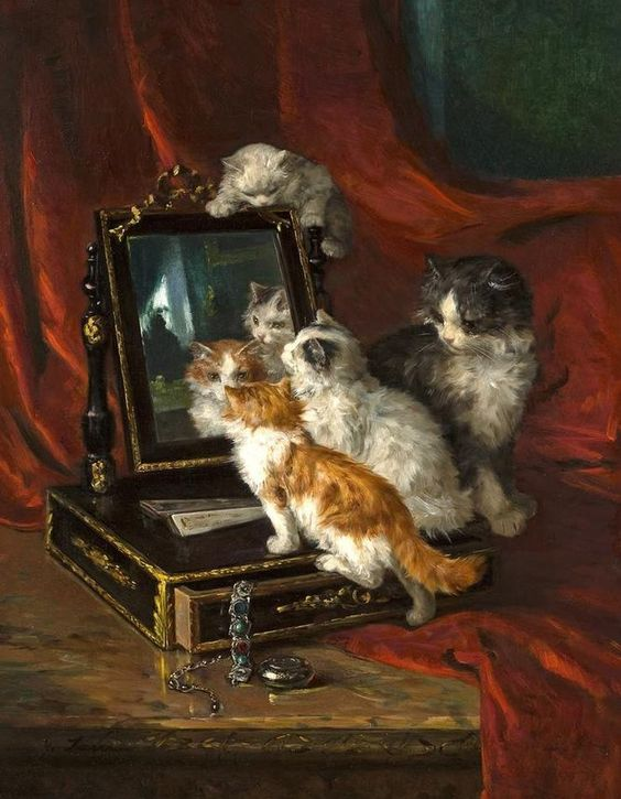 Kittens and their Reflection, Marie Yvonne Laur (Yo Laur)