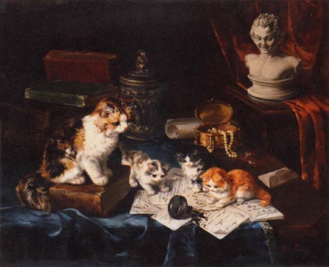 Kittens at Play, Marie Yvonne Laur, Yo Laur