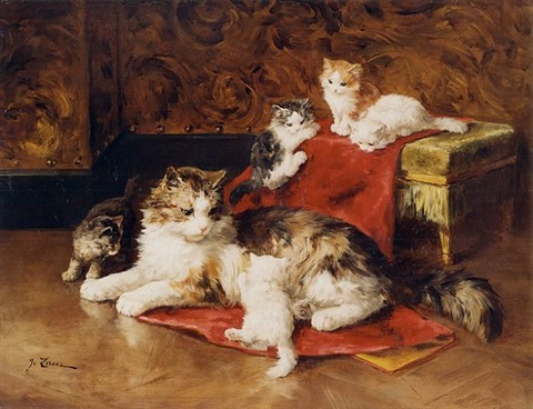 Mother Cat and Kittens, Marie Yvonne Laur, Yo Laur