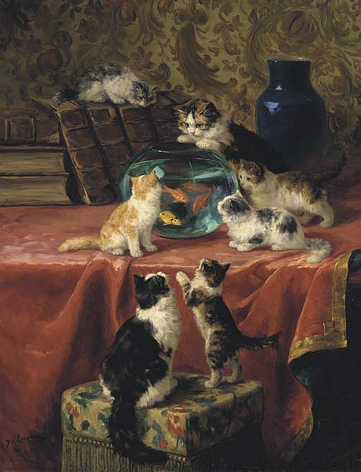 The Goldfish Bowl and Kittens, Marie Yvonne Laur