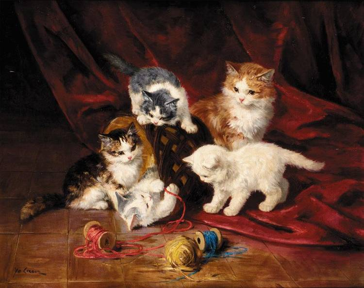 Three Kittens Playing with Thread, Marie Yvonne Laur, Yo Laur
