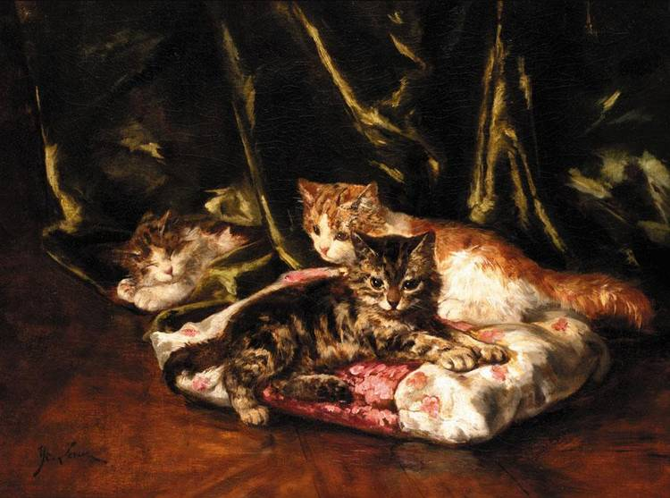 Three Kittens Relaxing, Marie Yvonne Laur, Yo Laur