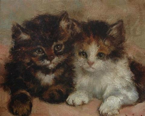 Two Kittens, Marie Yvonne Laur, Yo Laur