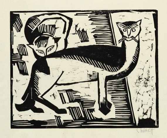 Karl Schmidt-Rottluff (1884-1976) - Cats, 1915