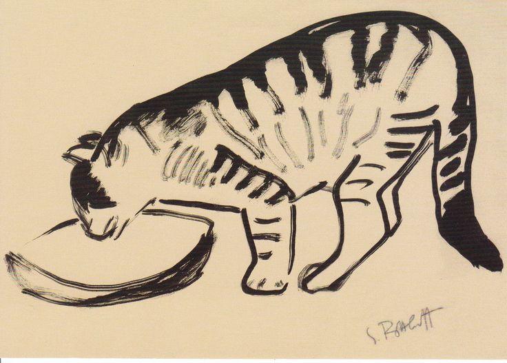 Karl Schmidt-Rottluff - Die Katze (vor Futterschüssel), 1913, the cat in front of a bowl