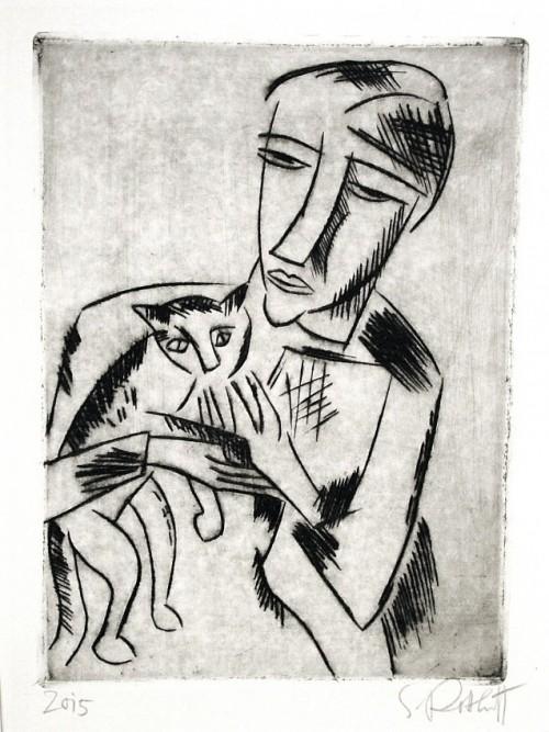 Karl Schmidt-Rottluff Madchen mit Katze (Girl with Cat), drypoint, 1920