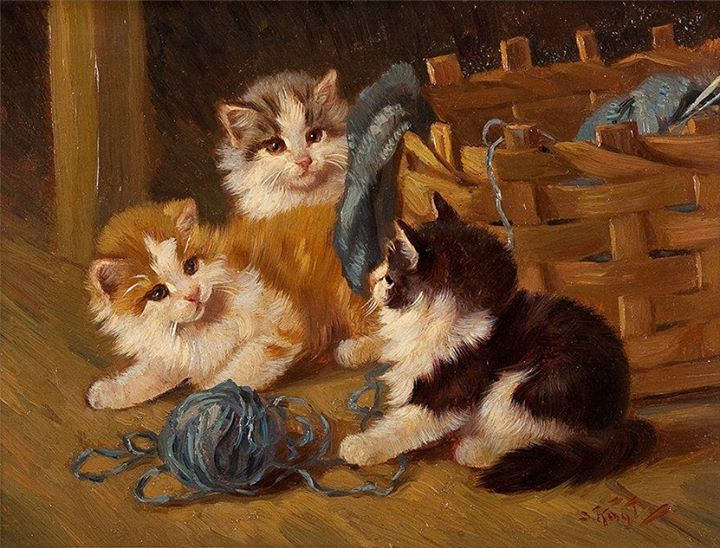 Kittens Playing with Yarn, Benno Kogl