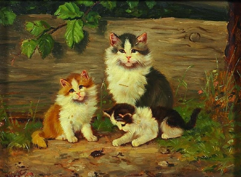 Kittens Playing with a Bug, Benno Kogl