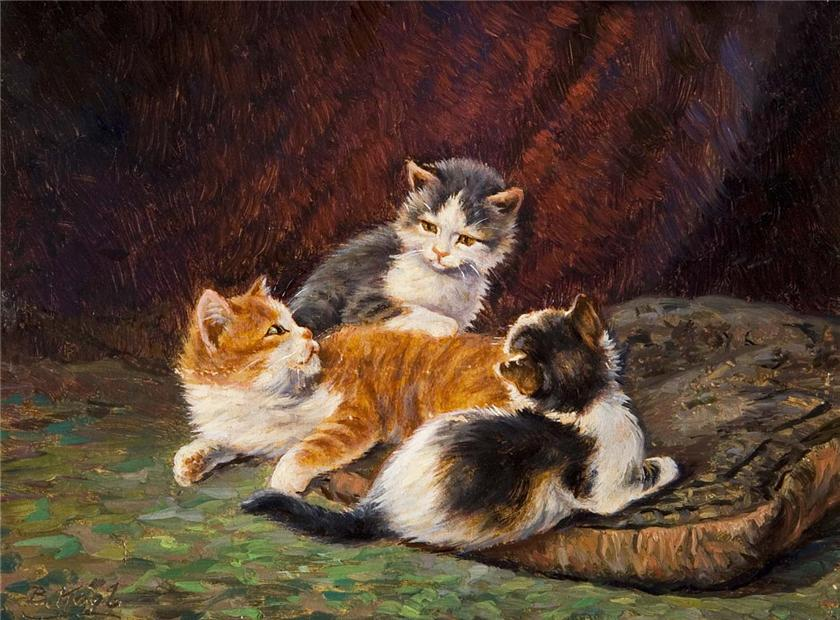 Three Kittens on a Cushion, Benno Kogl