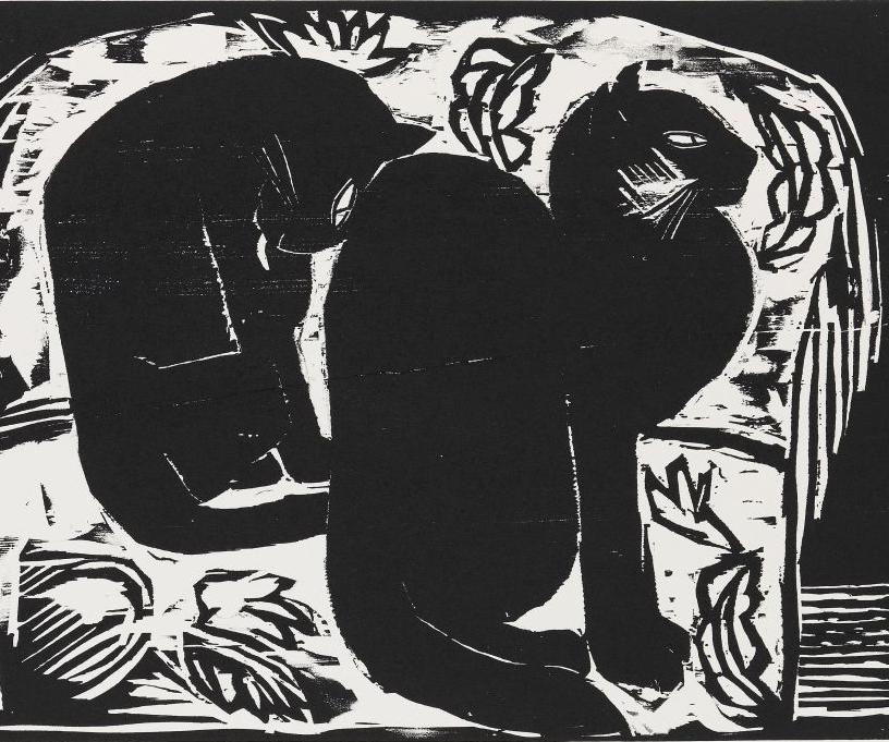 Two Black Cats, 1914, Karl Schmidt Rottluff
