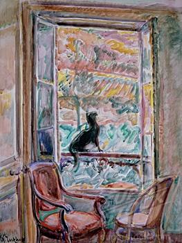 Black Cat On A Window Railing Nicolas Tarkhoff