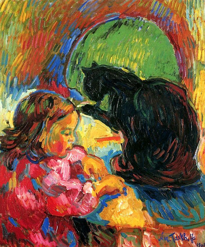 Black Cat with Child Nicolas Tarkhoff - 1908