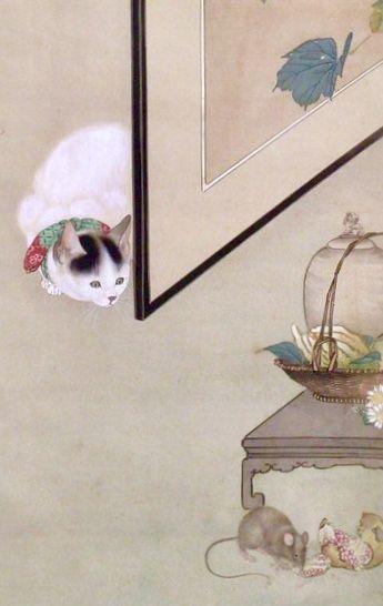 Detail, Cat Hunting a Mouse, Shibata Zeshin