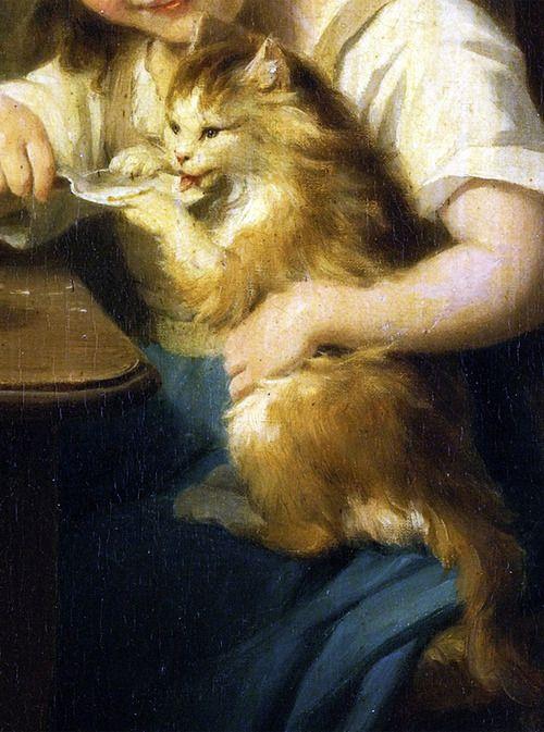 Little Girl Feeding her Cat, Detail, Fritz Zuber Buhler