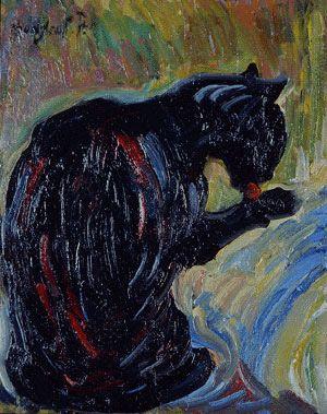 Nicholas Tarkhoff, Black Cat Cleaning Itself