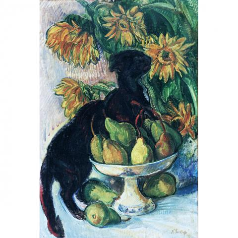 Nicholas Tarkhoff, Black Cat, Fruit, and Flowers