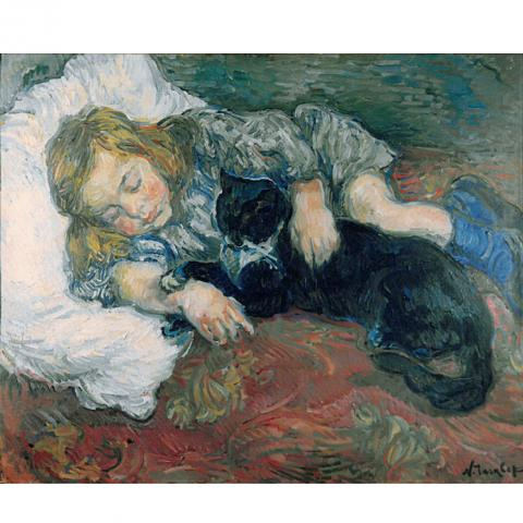 Nicholas Tarkhoff, Child Sleeping with Cat