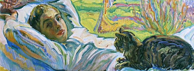 Nicholas Tarkoff, Lying Down with Black Cat, Detail