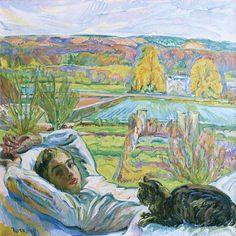 Nicholas Tarkoff, Lying Down with Black Cat