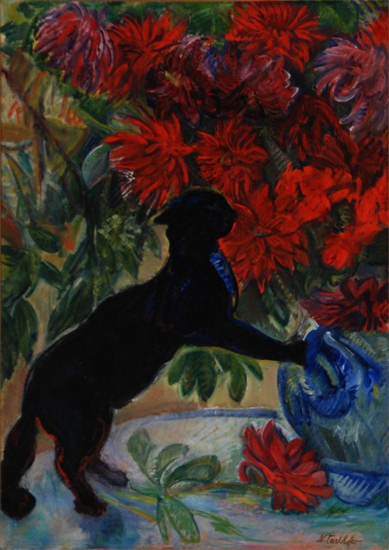 Nicolas Tarkhoff - Cat with Flowers, 1908