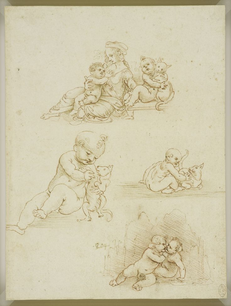 The Virgin and Child with a Child and a Cat, two studies of a child and a cat, and the Christ child and infant Baptist embracing, Leonardo da Vinci