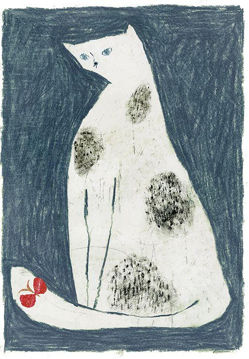 Tetsuhiro Wakabayashi, White Cat on Blue